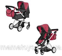 Кукольная коляска Трансформер Melobo 9651B DEEP RED 2 в 1 с сумкой Красная