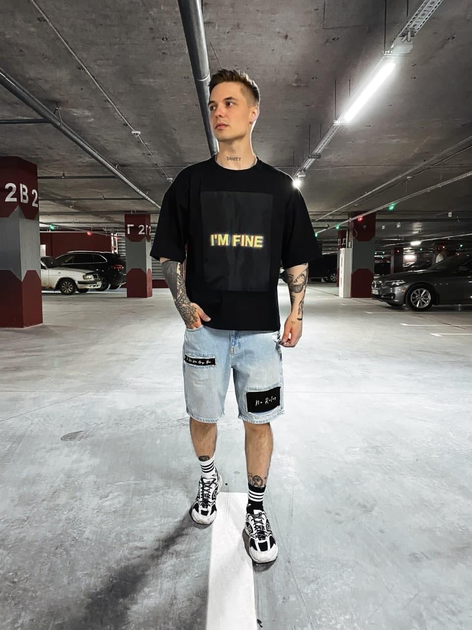 Чоловіча футболка з написом I am fine (чорна) подовжена на літо sF228