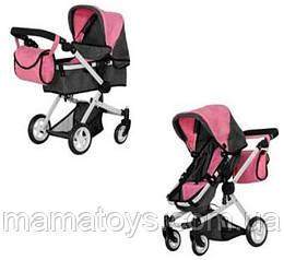 Кукольная коляска Трансформер Melobo 9651B PINK  2 в 1 с сумкой Розовая