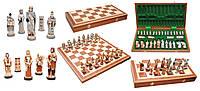 Шахматы 3158 ENGLAND Intarsia камень, коричневые 56x28x7см (король-115мм)
