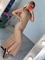 Вільне жіноче плаття в підлогу з розрізом по нозі, фото 1