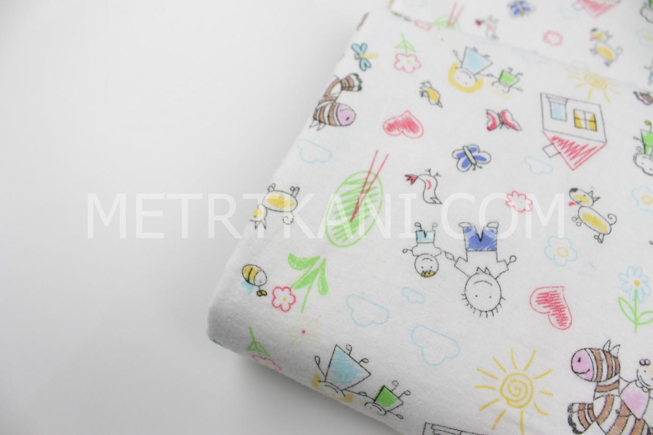 """Лоскуток.Фланель для постельного Акварельный рисунок  """"Семья""""  на белом фоне  180 см , 47*180 см"""