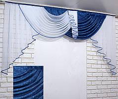 Ламбрекен №155 на карниз 2 метра. Цвет белый с синим. Код 155л 60-103