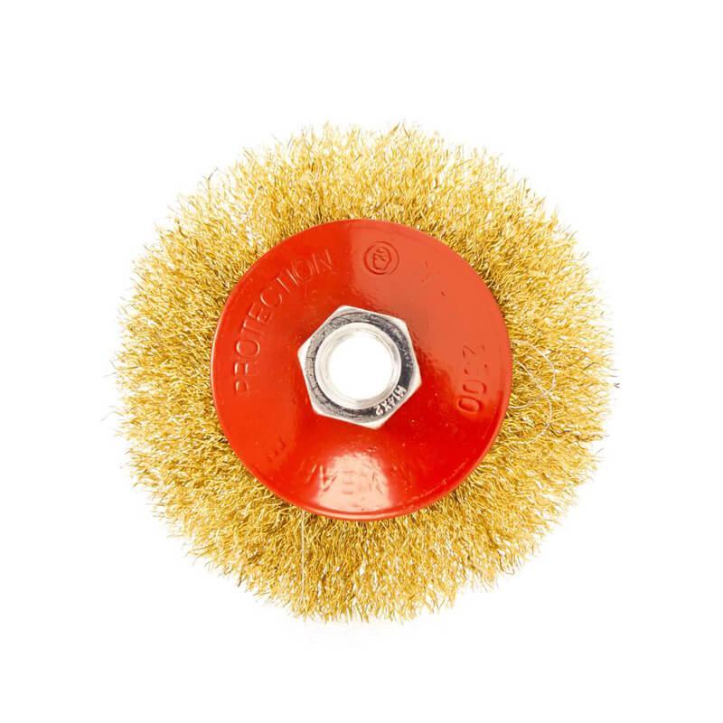 Щітка конусна з латунированной рифленого дроту D100 М14 Htools