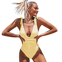 Полосатий суцільний купальник Cupshe з  v-подібним вирізом і відкритою спиною, жовтий в білу полоску, размер, фото 1