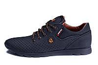Чоловічі шкіряні літні кросівки, перфорація E-series black (репліка)