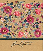 """Тетрадь для записей А5/24 кл. YES """"Floral frame"""" крафт, белила"""