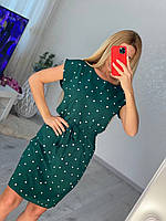 Линда, летнее красивое женское платье в горох зеленое, размеры от 44 до 54