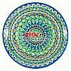 Ляган (узбекская тарелка) 37х4см для подачи плова керамический (ручная роспись) (вариант 8)