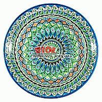 Ляган (узбекская тарелка) 37х4см для подачи плова керамический (ручная роспись) (вариант 8), фото 1