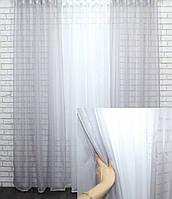 Комплект из шифона, декоративная гардина. Цвет светло-серый с белым. Код 002дк