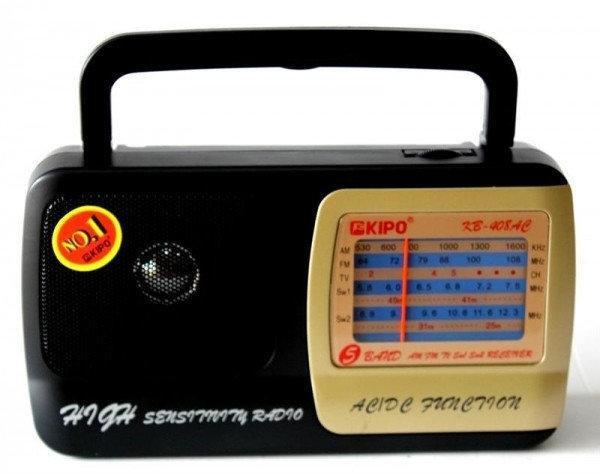 Портативний радіоприймач на батарейках KIPO KB-408AC, Fm радіоприймач від мережі і батарейок, Fm радіо