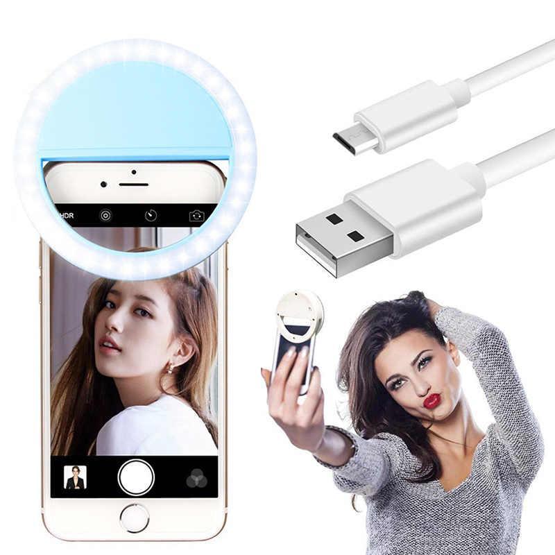 Підсвічування і спалах для селфи - світлодіодне кільце-лампа для телефону з тримачем та USB зарядкою