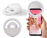 Підсвічування і спалах для селфи - світлодіодне кільце-лампа для телефону з тримачем та USB зарядкою, фото 9