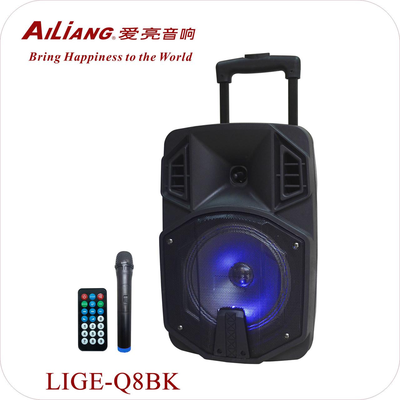 Аккумуляторная портативная колонка чемодан Ailiang LiGE-Q8BK, беспроводная Bluetooth акустика с микрофоном