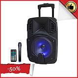 Акумуляторна портативна колонка валізу Ailiang LiGE-Q8BK, бездротова Bluetooth акустика з мікрофоном, фото 2