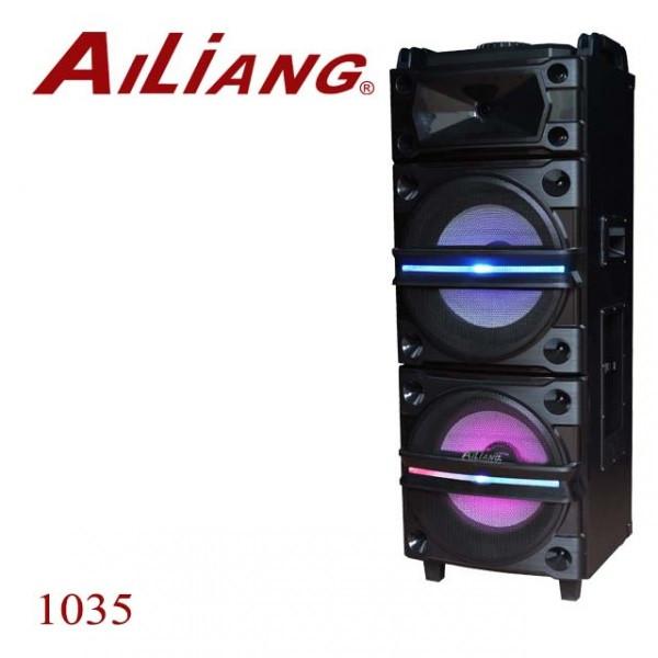 Беспроводная колонка чемодан для дискотеки Ailiang DJ-1035 с Диджей Микшером, пультом и 2 микрофонами