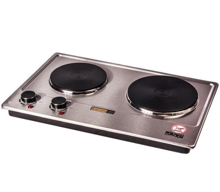 Электроплита настольная бытовая DSP KD-4047, компактная кухонная мощная плита на 2 конфорки дисковая