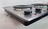 Электроплита настольная бытовая DSP KD-4047, компактная кухонная мощная плита на 2 конфорки дисковая, фото 7