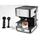 Электрическая кофеварка рожковая, кофемашина DSP Espresso Coffee Maker KA3028 с капучинатором, полуавтомат, фото 4