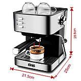 Электрическая кофеварка рожковая, кофемашина DSP Espresso Coffee Maker KA3028 с капучинатором, полуавтомат, фото 9