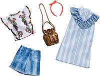 Одежда для Барби Два модных наряда Платье в полоску и шорты Barbie Fashion FXJ63