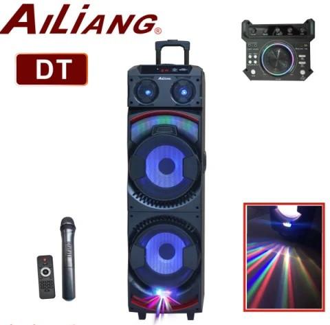 Беспроводная колонка чемодан для дискотеки Ailiang DJ-1034 с Диджей Микшером, пультом и 2 микрофонами