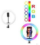 Подсветка и вспышка светодиодная для селфи, круглая лампа Led, Selfie кольцо для фото, набор блогера MJ20 RGB, фото 3