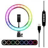 Подсветка и вспышка светодиодная для селфи, круглая лампа Led, Selfie кольцо для фото, набор блогера MJ20 RGB, фото 4