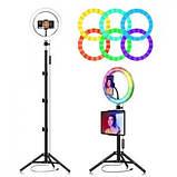 Подсветка и вспышка светодиодная для селфи, круглая лампа Led, Selfie кольцо для фото, набор блогера MJ20 RGB, фото 9
