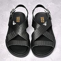 Чёрные кожаные сандалии Armani | натуральная тиснённая кожа + полиуретан, фото 1