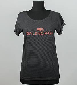 -Р- Футболка женская с отворотом Balenciaga Черный точки (0927жр), L