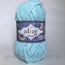 Плюшевая пряжа Alize Velluto 19 Светло-бирюзовый