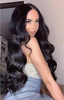 Длинный чёрный парик, волнистые волосы длина 75см