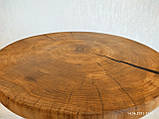Журнальний круглий столик з натурального дерева Ясний 50 див. Кавовий столик для вітальні. Столик лофт, фото 7