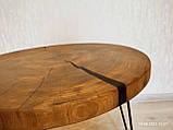 Журнальний круглий столик з натурального дерева Ясний 50 див. Кавовий столик для вітальні. Столик лофт, фото 8