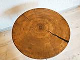 Журнальний круглий столик з натурального дерева Ясний 50 див. Кавовий столик для вітальні. Столик лофт, фото 5