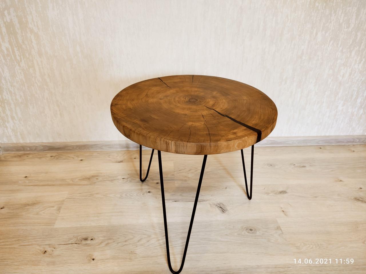 Журнальний круглий столик з натурального дерева Ясний 50 див. Кавовий столик для вітальні. Столик лофт