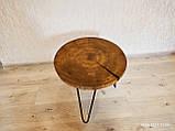 Журнальний круглий столик з натурального дерева Ясний 50 див. Кавовий столик для вітальні. Столик лофт, фото 2