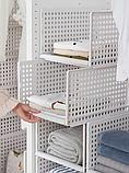 ОПТ Багаторозмірних складаний пластиковий органайзер з ящиками для одягу, багатошаровий стелаж для зберігання, фото 4