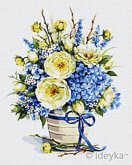 Живопись по номерам Лазурный букет худ. Елена Вавилина KHO3123 Идейка 40 х 50 см (без коробки)