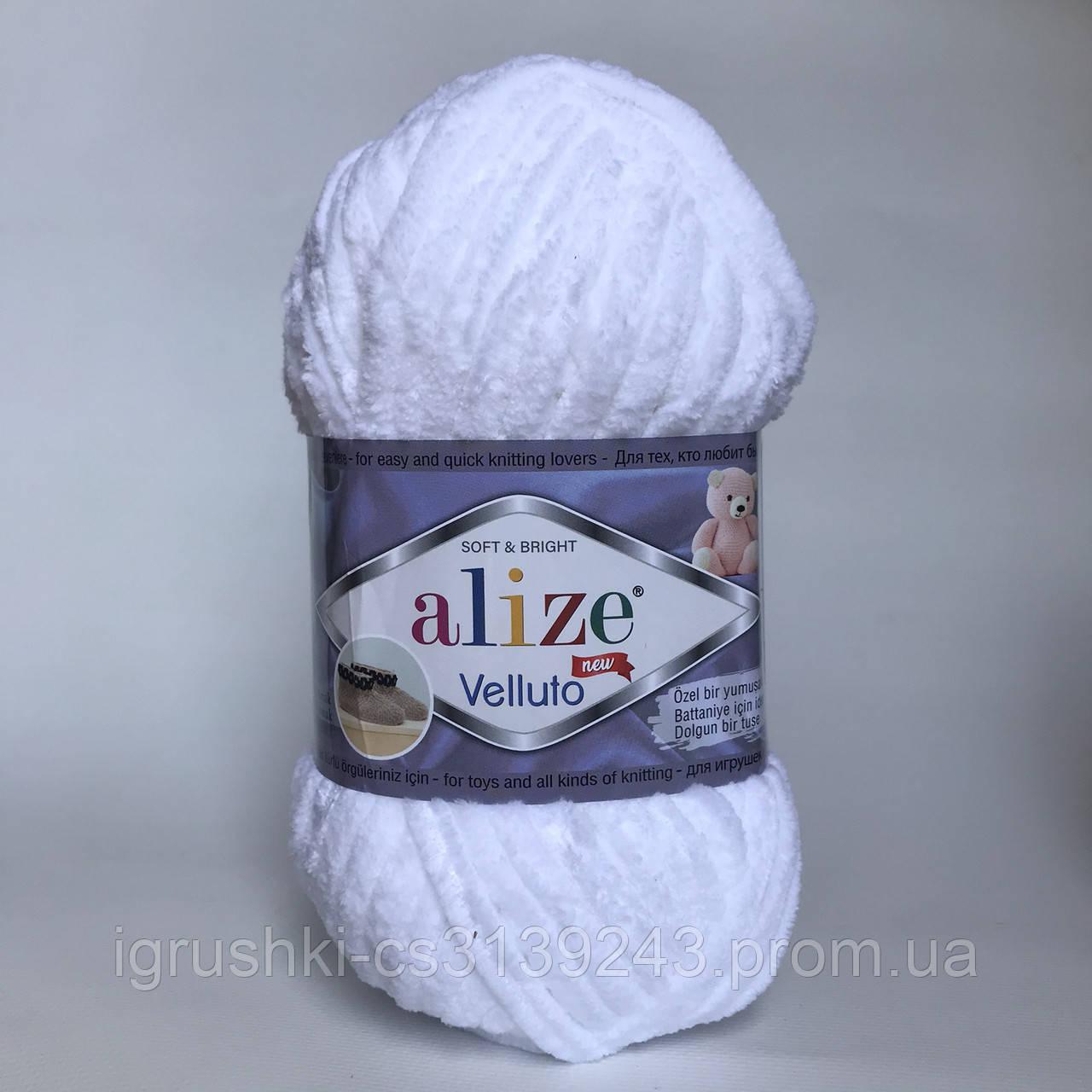 Плюшева пряжі Alize Velluto 55 Білий