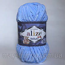 Плюшевая пряжа Alize Velluto 218 Детский голубой