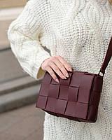 Бордова жіноча маленька сумочка, плетена сумка боттега Венета через плече крос-боді для жінок, фото 1