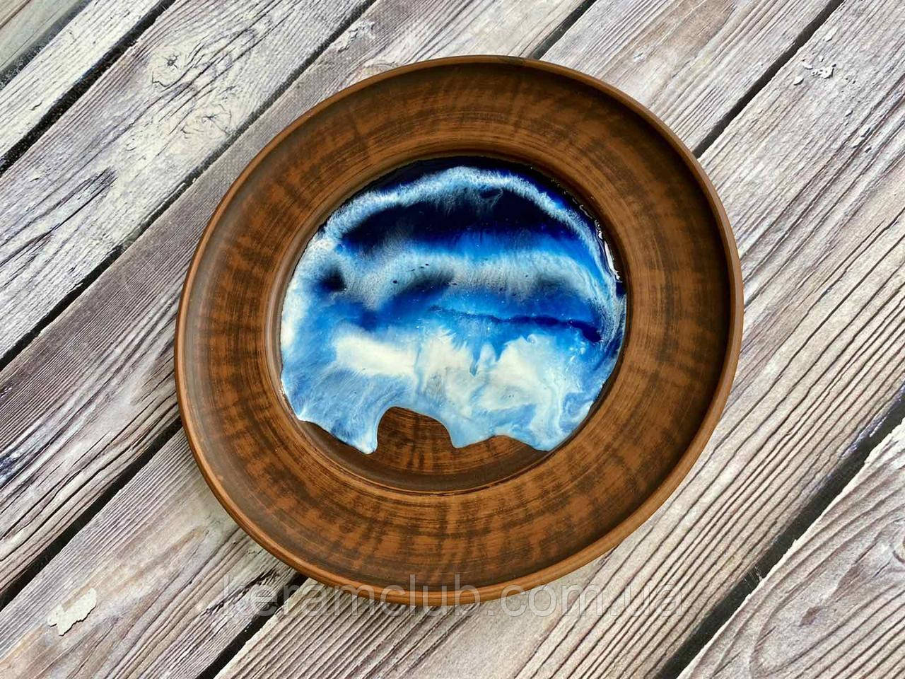Тарілка з червоної глини ЭпоЭко Хвиля з епоксидним покриттям d 24 см