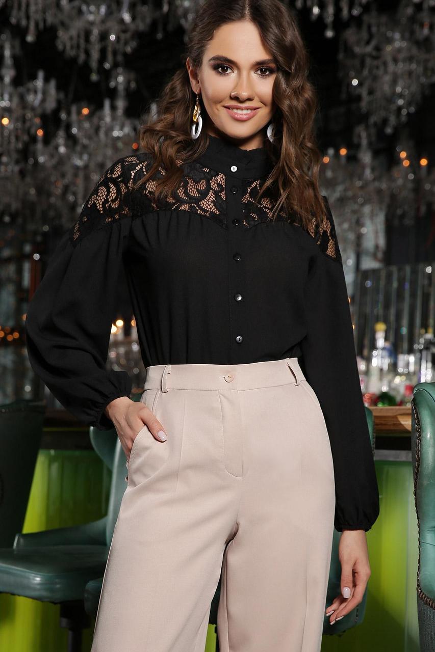 Блуза  нарядная из креп шифона с гипюром черная Джая д/р