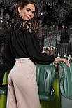 Блуза  нарядная из креп шифона с гипюром черная Джая д/р, фото 4