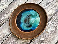 Тарелка из красной глины ЭпоЭко Сияние с эпоксидным покрытием d 24 см