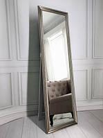 Дзеркало в повний зріст підлогове 170х50 Срібло нікель Black Mirror в багетній рамі в спальню коридор зал