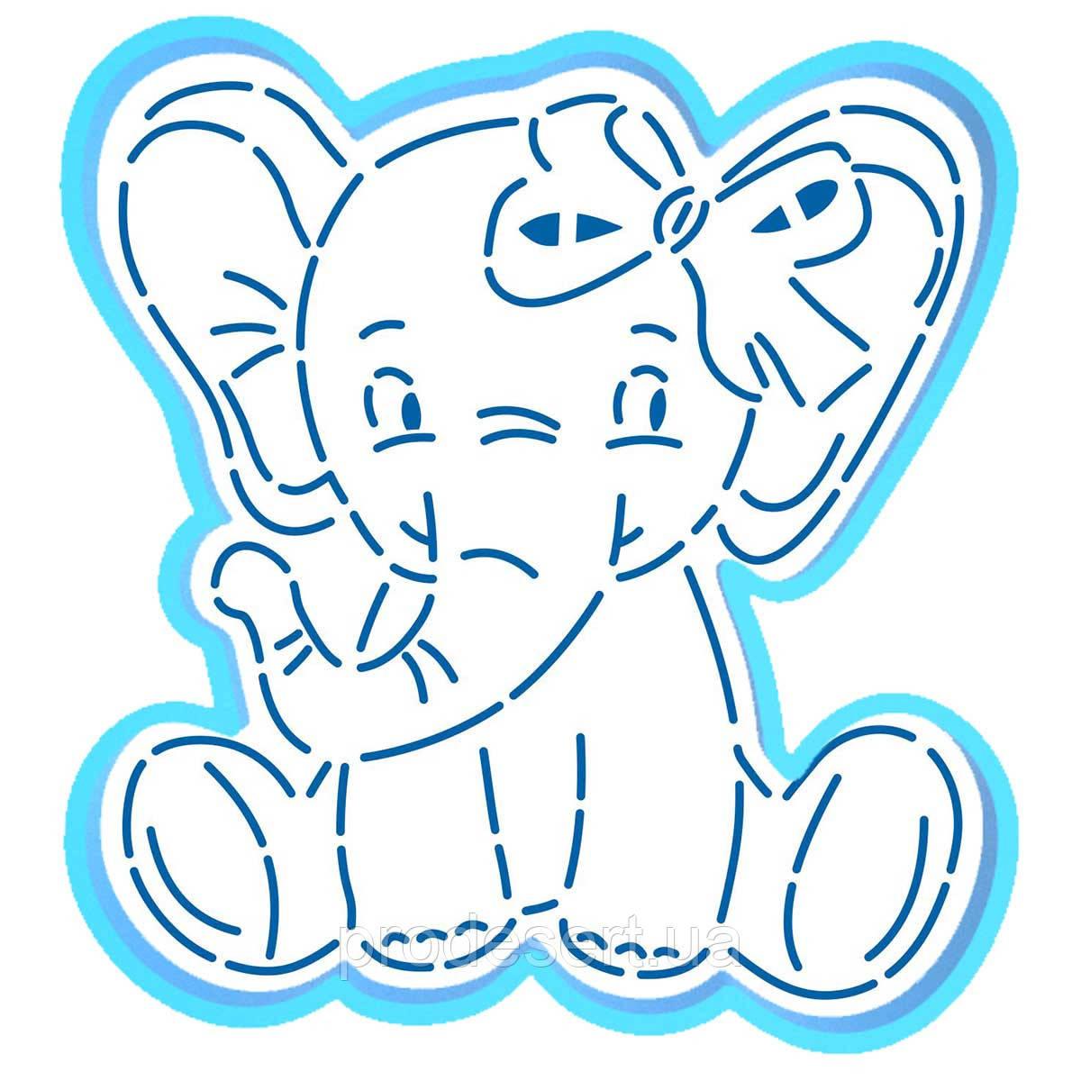 Слоненя вирубка з трафаретом 11*10,2 см (TR-2)